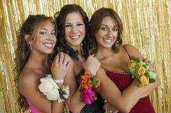 Goed-geklede tienermeisjes bij het portret van de schooldans Royalty-vrije Stock Foto's