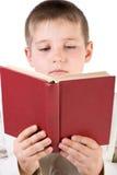 Goed-gekleed jongen gelezen boek stock afbeeldingen