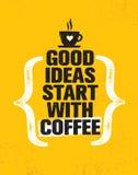 Goed ideeënbegin met koffie Het inspireren Creatief de Affichemalplaatje van het Motivatiecitaat Het vectorontwerp van de Typogra Stock Foto