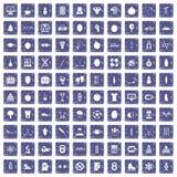 100 goed persoonspictogrammen geplaatst grunge saffier Royalty-vrije Stock Foto's