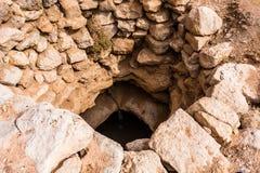 Goed uitgedroogd in de woestijn dichtbij Abu Jifan Fort, Riyadh Provincie, Saudi-Arabië royalty-vrije stock fotografie