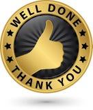 Goed uitgevoerd dank u gouden etiket met omhoog duim, vector illustrat Stock Afbeelding