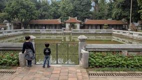 Goed van Hemelse Schittering, derde binnenplaats, Tempel van Literatuur, Hanoi, Vietnam stock afbeelding