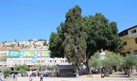 Goed van Maagdelijke die Mary, in het centrum van Nazareth van de binnenstad, op de hoofdweg Israël wordt gevestigd royalty-vrije stock afbeelding