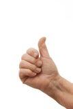 Goede baan - het Oude wijfjeshand geven beduimelt omhoog Royalty-vrije Stock Foto's