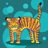 Goede beeldverhaaltijger op een blauwe achtergrond Royalty-vrije Stock Fotografie