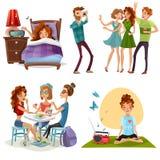 Goede Dag met Vrienden 4 Pictogrammen royalty-vrije illustratie