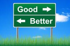 Goede en betere verkeersteken. Stock Afbeeldingen