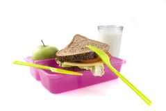 Goede gevulde lunch-box stock foto