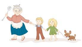Goede grootmoeder met kinderen Stock Foto