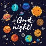 Goede nacht - hand getrokken affiche met planeten, sterren, kometen royalty-vrije illustratie
