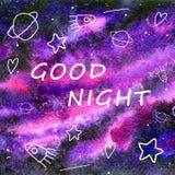 Goede nacht op een waterverfachtergrond vector illustratie