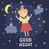 Goede nachtkaart met een leuke fee en slaperige wolken Stock Fotografie