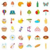 Goede Pasen-geplaatste pictogrammen, beeldverhaalstijl Royalty-vrije Stock Afbeeldingen