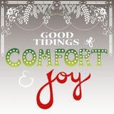 Goede tijding van comfort en vreugde Stock Foto's