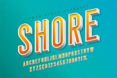 Goede vibes retro lettersoort 3d vertoningsdoopvont, affiche Vector Illustratie