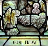 Goede Vrijdag in gebrandschilderd glas (gekruisigd Jesus Christ) royalty-vrije stock foto