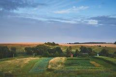 Goede zonsondergang over groen gebied stock foto's