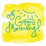 Goedemorgen het van letters voorzien Stock Foto