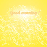 Goedemorgen op een achtergrond van het bespatten en golven en gloed Royalty-vrije Stock Foto