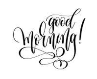 Goedemorgen - tekst van de hand de van letters voorziende inschrijving Stock Foto's