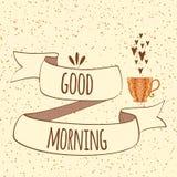 Goedemorgencitaat op hand getrokken lint en kop thee of koffie Royalty-vrije Stock Foto