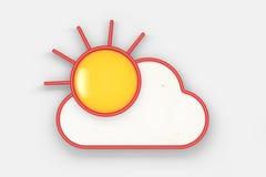 Goedemorgenconcept Fried Egg als Zon het 3d teruggeven Stock Foto
