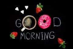 Goedemorgengroet, vakantieontbijt Stock Foto