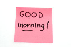 Goedemorgennota Stock Foto's