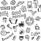 Goedemorgenpictogrammen geplaatst illustratie Stock Afbeeldingen