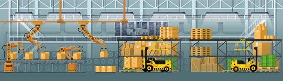 Goederen die de Automatische Vector van de Transportbandlijn inpakken royalty-vrije illustratie