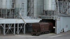 Goederentrein met landbouwgewassen als ladingsvervoer die zich bij grote korrelterminal dichtbij overzees bewegen Leegmakende kor stock footage