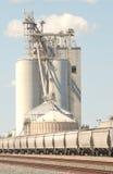 Goederentreinen en commerciële grainery Royalty-vrije Stock Afbeelding