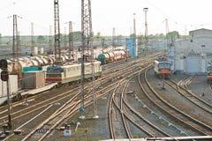 Goederentreinen en Spoorwegen Stock Foto's