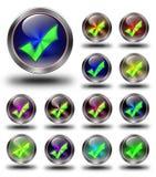 Goedgekeurde glanzende pictogrammen, gekke kleuren Stock Afbeelding