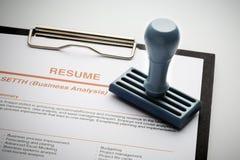 Goedgekeurd hervat voor een nieuwe baan stock afbeelding