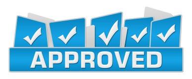 Goedgekeurde Blauwe Tickmarks op Bovenkant Stock Foto