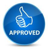 Goedgekeurde (duimen op pictogram) elegante blauwe ronde knoop Royalty-vrije Stock Afbeeldingen