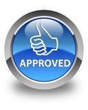 Goedgekeurde (duimen op pictogram) glanzende blauwe ronde knoop Stock Fotografie