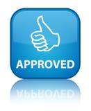 Goedgekeurde (duimen op pictogram) speciale cyaan blauwe vierkante knoop Royalty-vrije Stock Afbeelding