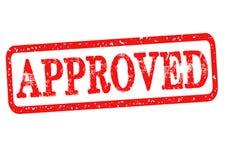 Goedgekeurde rubberzegel met rode die teksten op witte achtergrond worden geïsoleerd Vector illustratie Stock Afbeeldingen