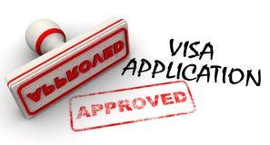 Goedgekeurde visumaanvraag Verbinding en afdruk stock illustratie