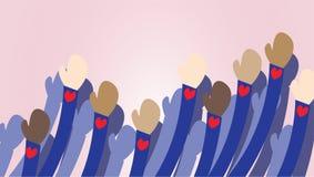 Goedkeuringsillustratie Antiracismevector Het beeldverhaal van mensenhanden vector illustratie