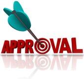 Goedkeuringsword Pijldoel die Goedkeurings naar Goede Reactie streven Royalty-vrije Stock Foto's