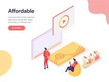Goedkoop en Betaalbaar Illustratieconcept Isometrisch ontwerpconcept webpaginaontwerp voor website en mobiele website Vector stock illustratie