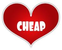 GOEDKOOP op het rode etiket van de hartsticker stock illustratie