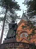 Goerlitz, Luther church and statue of Luther.  stock image