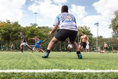 Goers of the Ibirapuera Park playing soccer royalty free stock images