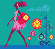 Goes girl. Vector illustration of a silhouette of going young girl Royalty Free Stock Image
