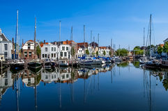 Goes harbour in the Netherlands. Historical houses on Kleine Kade in the harbour of the city of Goes in Zeeland, the Netherlands royalty free stock images